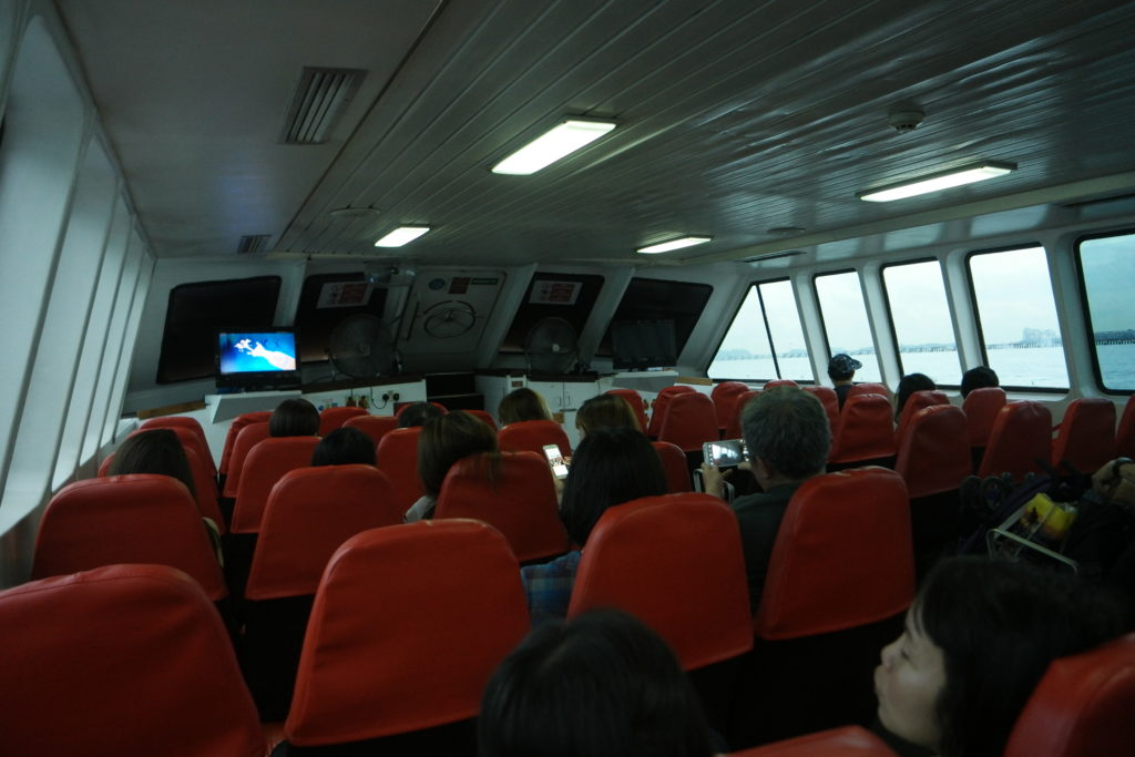 In the ferry on the way to our first island
