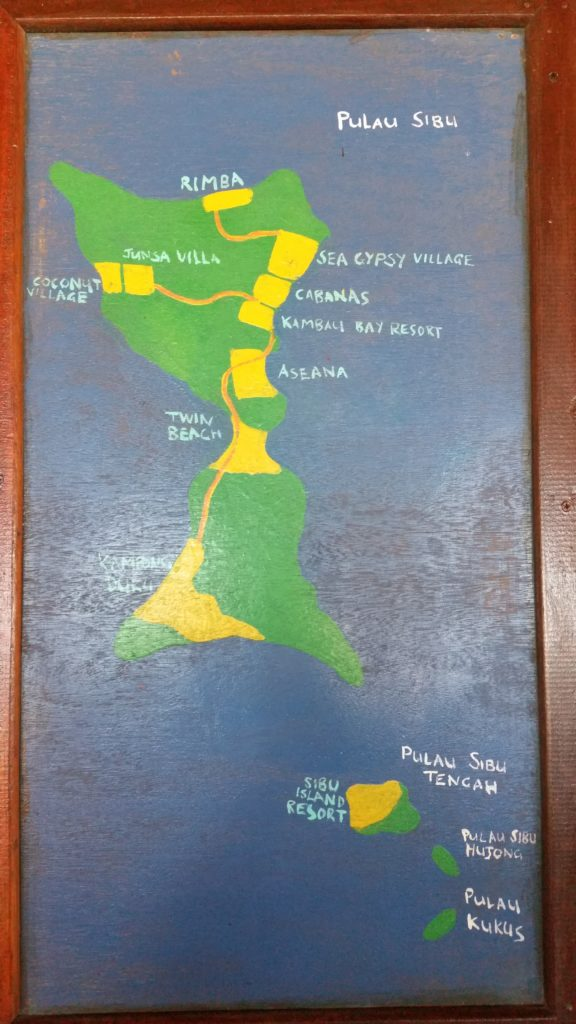 Pulau Sibu Map. We stayed at Sea Gypsy Village located at the back of the island.