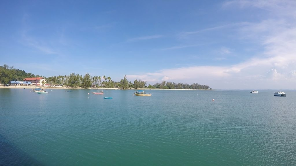 View of Pulau Sibu from the jetty. Can you see the school?