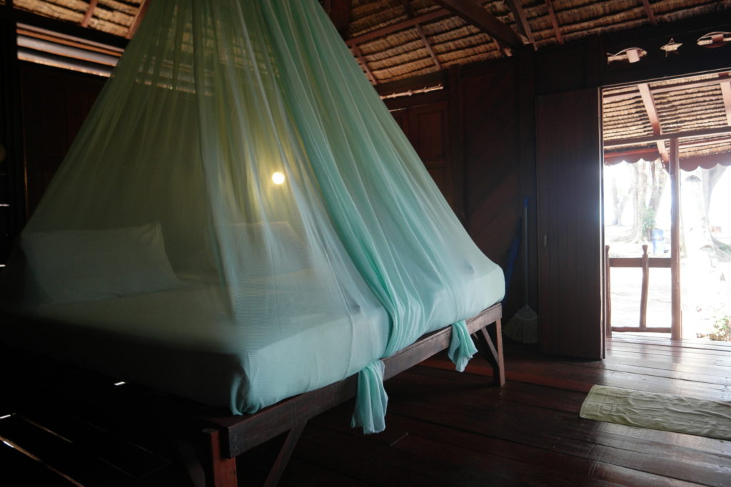 Bed comes with a mosquito net, which is definitely necessary here